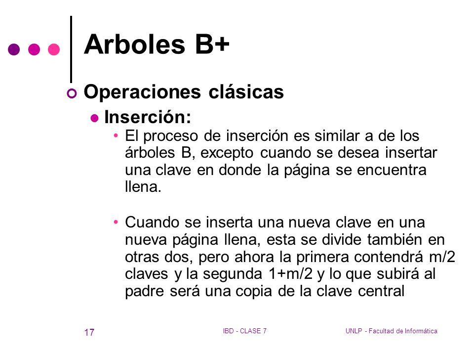Arboles B+ Operaciones clásicas Inserción: