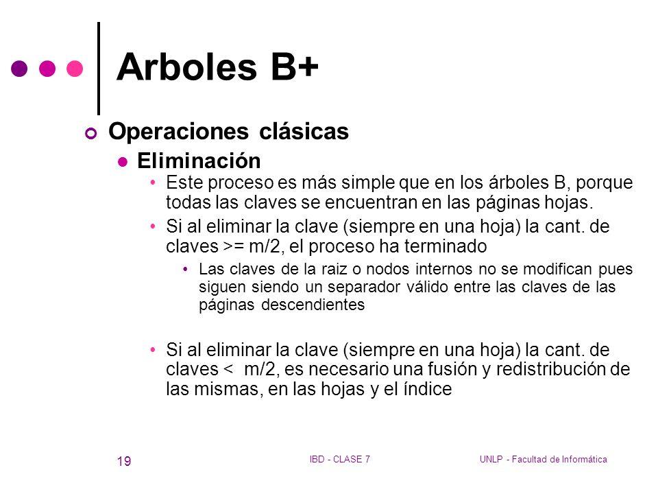 Arboles B+ Operaciones clásicas Eliminación