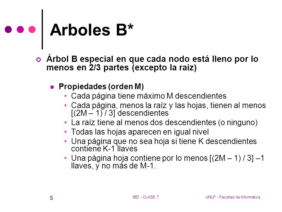 Arboles B* Árbol B especial en que cada nodo está lleno por lo menos en 2/3 partes (excepto la raiz)