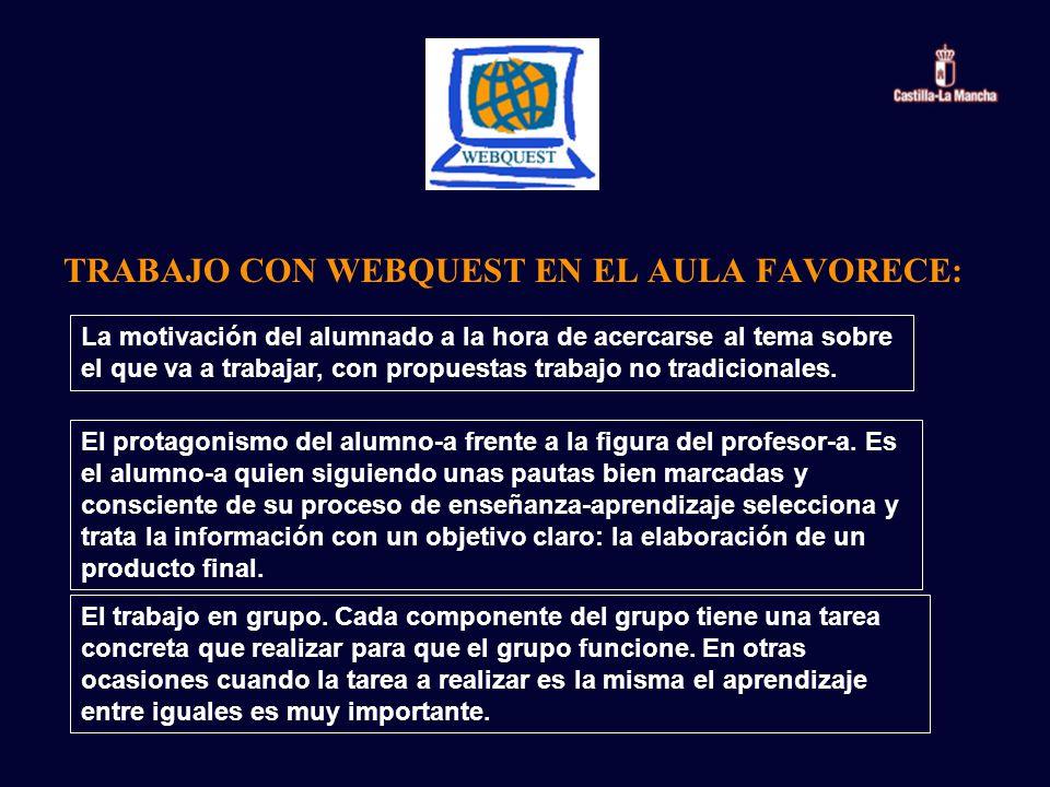 TRABAJO CON WEBQUEST EN EL AULA FAVORECE: