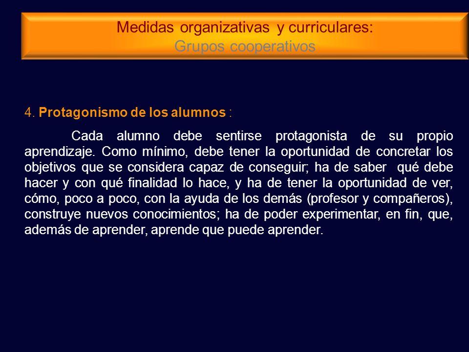 Medidas organizativas y curriculares: