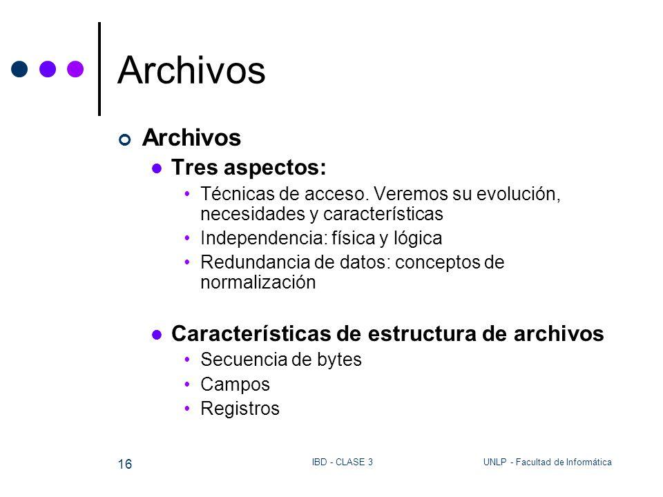 Archivos Archivos Tres aspectos: