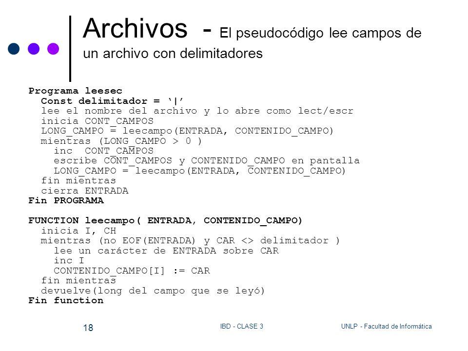 Archivos - El pseudocódigo lee campos de un archivo con delimitadores
