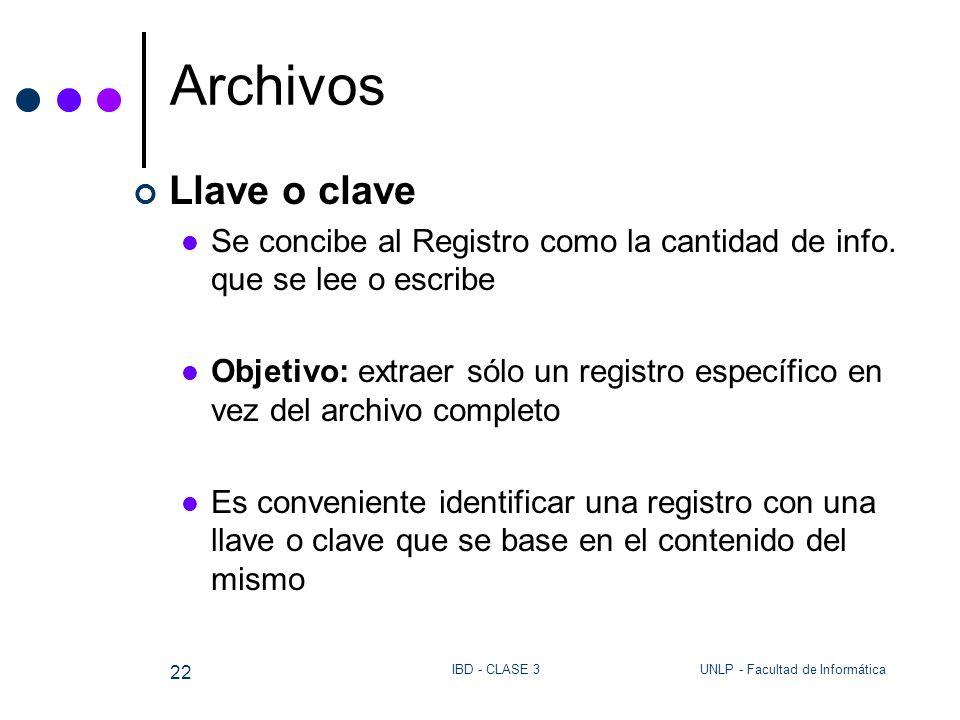Archivos Llave o clave. Se concibe al Registro como la cantidad de info. que se lee o escribe.
