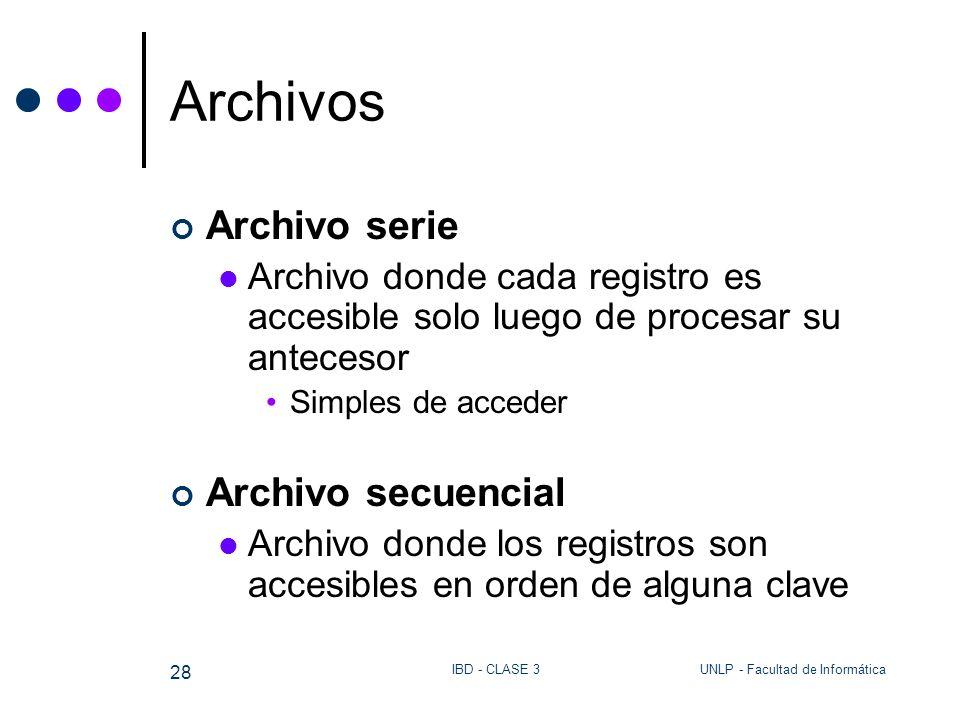 Archivos Archivo serie Archivo secuencial