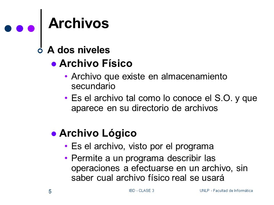 Archivos Archivo Físico Archivo Lógico A dos niveles