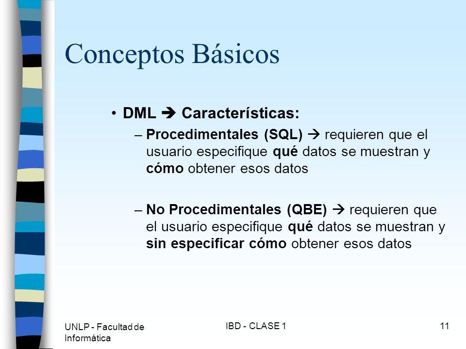 Conceptos Básicos DML  Características:
