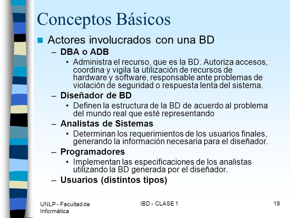Conceptos Básicos Actores involucrados con una BD DBA o ADB