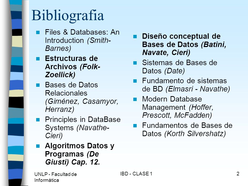 Bibliografia Files & Databases: An Introduction (Smith-Barnes)