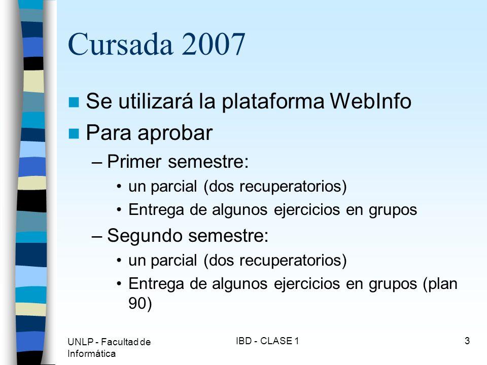 Cursada 2007 Se utilizará la plataforma WebInfo Para aprobar