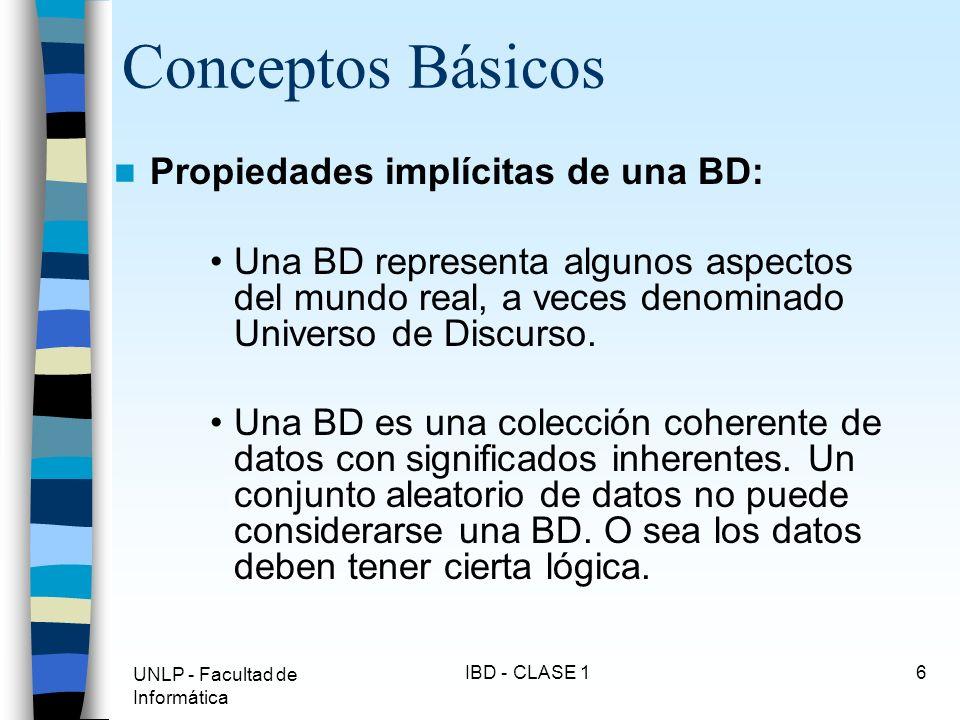 Conceptos Básicos Propiedades implícitas de una BD: