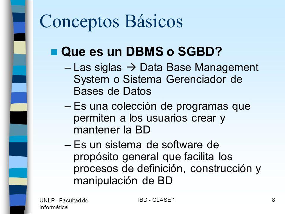 Conceptos Básicos Que es un DBMS o SGBD