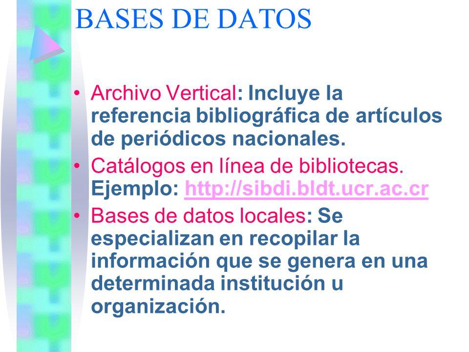 BASES DE DATOS Archivo Vertical: Incluye la referencia bibliográfica de artículos de periódicos nacionales.