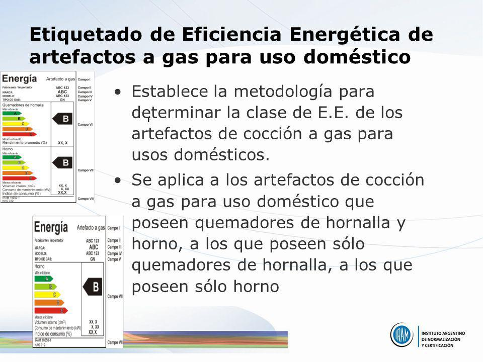 Etiquetado de Eficiencia Energética de artefactos a gas para uso doméstico