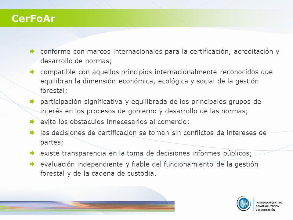 CerFoAr conforme con marcos internacionales para la certificación, acreditación y desarrollo de normas;