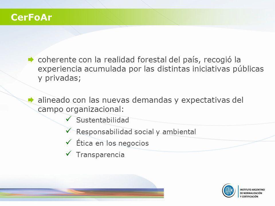 CerFoAr coherente con la realidad forestal del país, recogió la experiencia acumulada por las distintas iniciativas públicas y privadas;