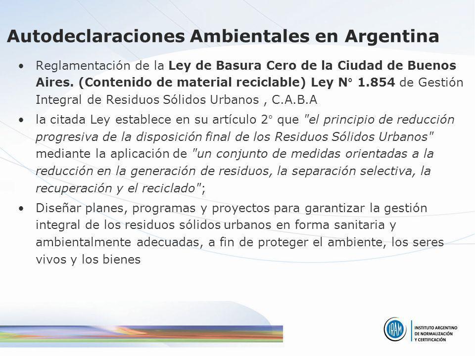Autodeclaraciones Ambientales en Argentina