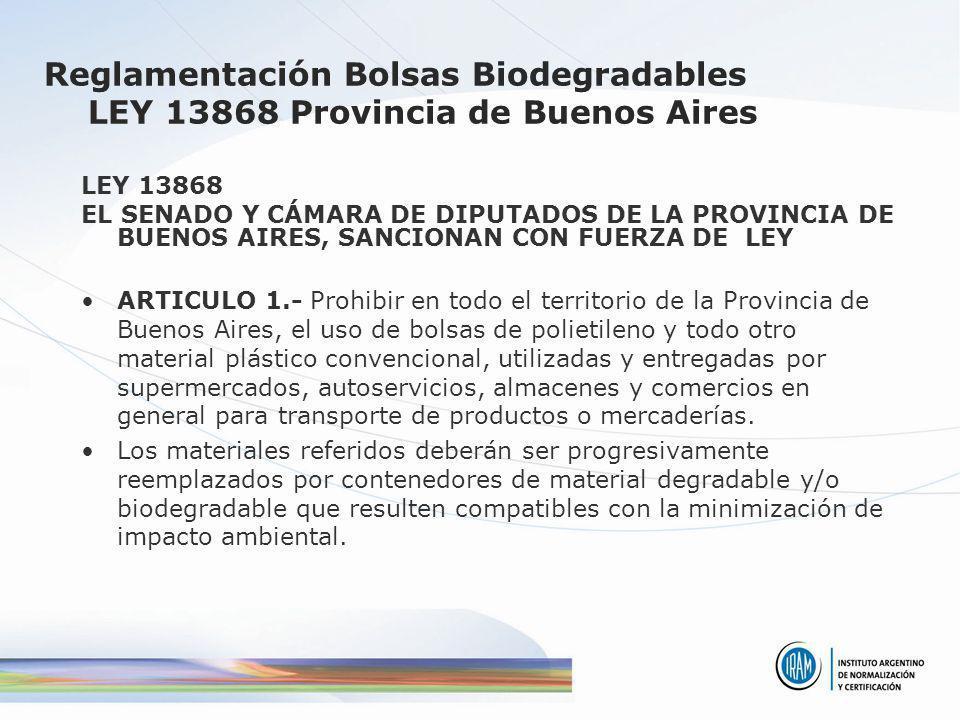 Reglamentación Bolsas Biodegradables LEY 13868 Provincia de Buenos Aires