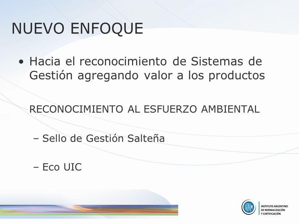 NUEVO ENFOQUE Hacia el reconocimiento de Sistemas de Gestión agregando valor a los productos. RECONOCIMIENTO AL ESFUERZO AMBIENTAL.