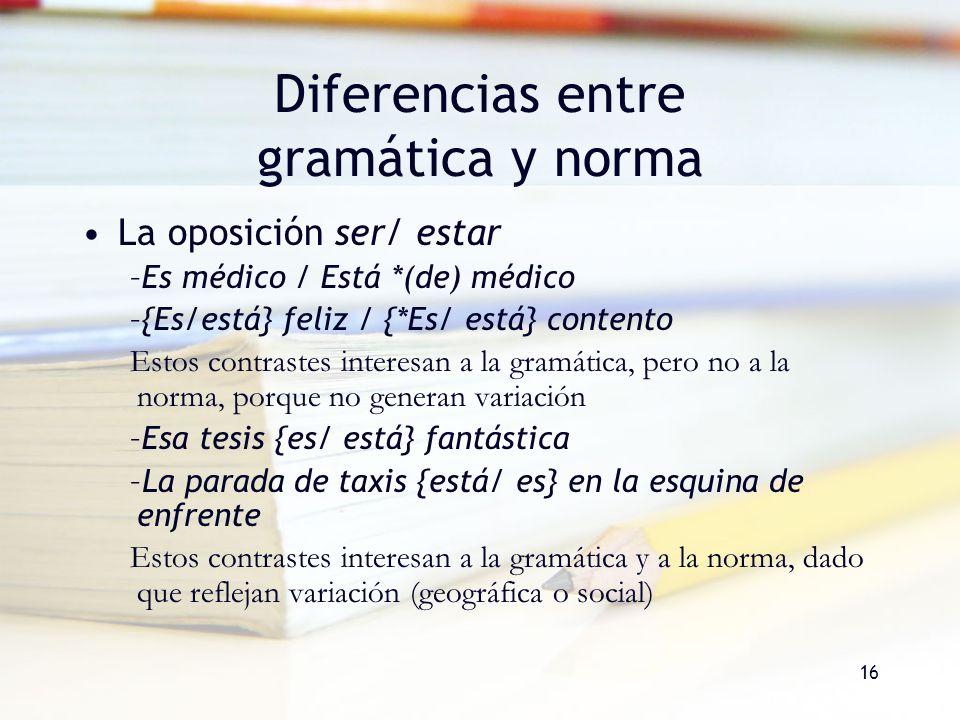Diferencias entre gramática y norma