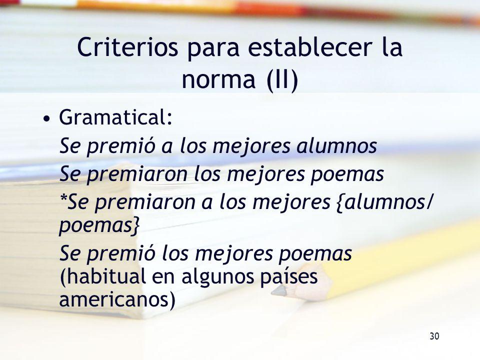 Criterios para establecer la norma (II)