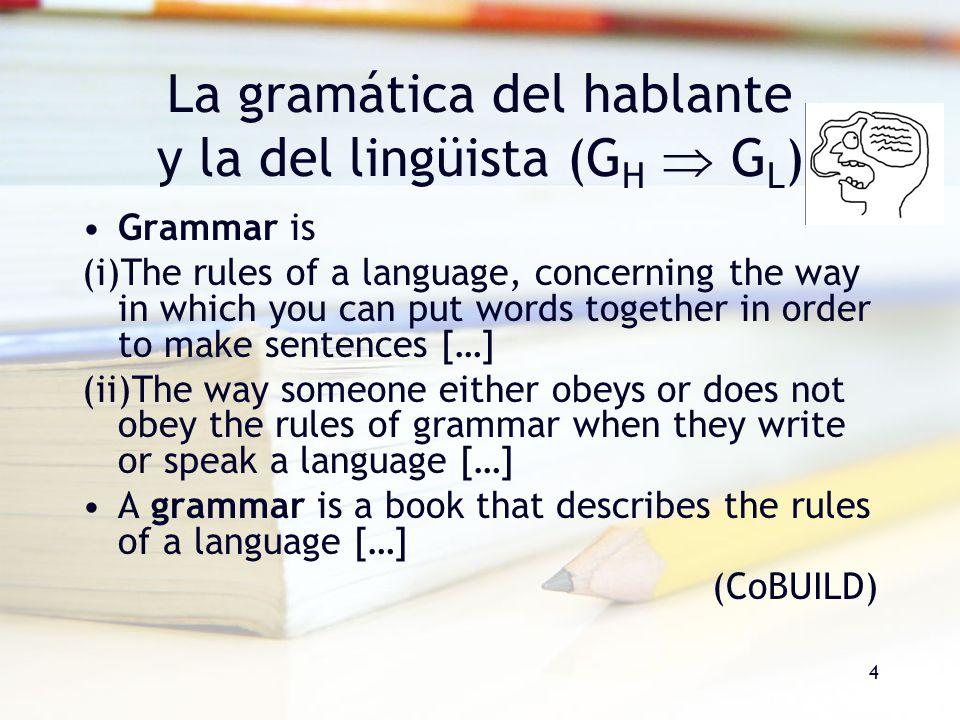 La gramática del hablante y la del lingüista (GH  GL)