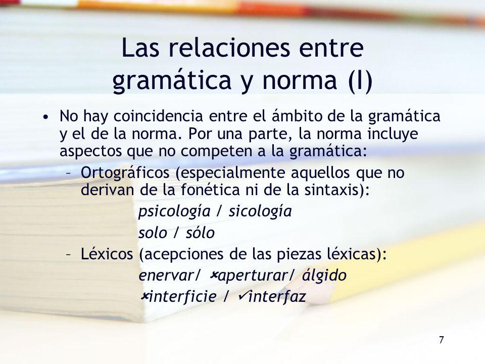 Las relaciones entre gramática y norma (I)