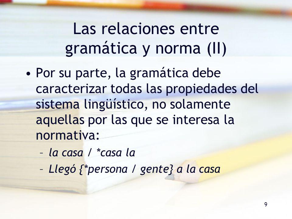 Las relaciones entre gramática y norma (II)