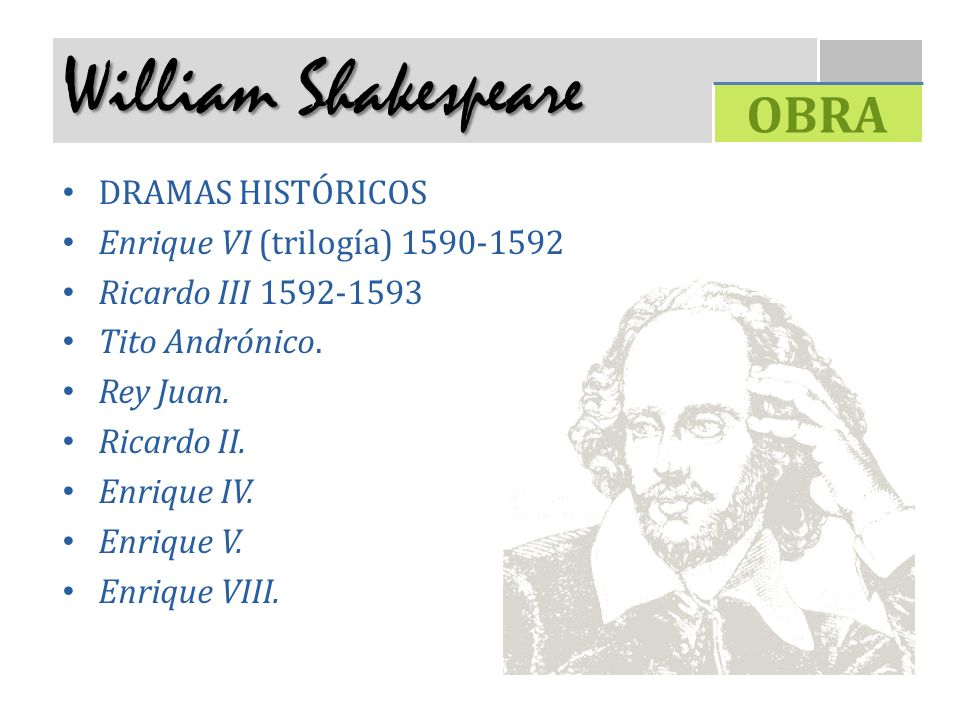 William Shakespeare OBRA DRAMAS HISTÓRICOS
