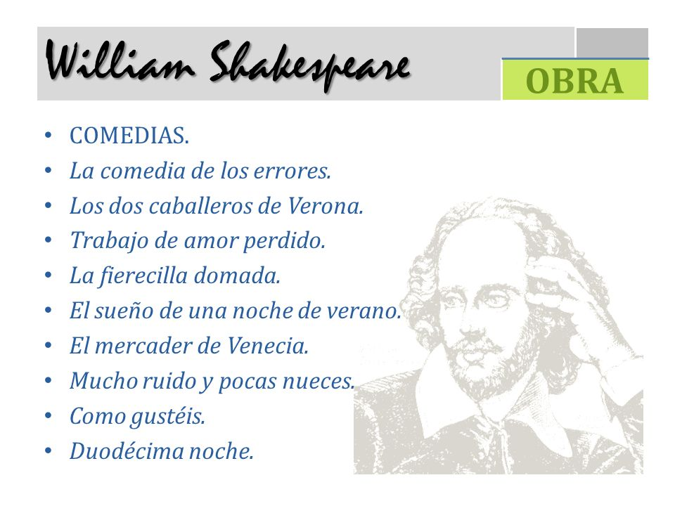 William Shakespeare OBRA COMEDIAS. La comedia de los errores.