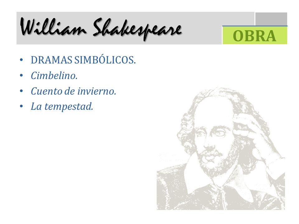 William Shakespeare OBRA DRAMAS SIMBÓLICOS. Cimbelino.