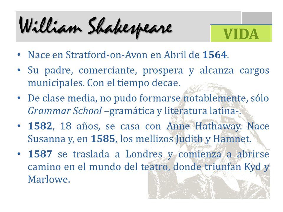 William Shakespeare VIDA Nace en Stratford-on-Avon en Abril de 1564.