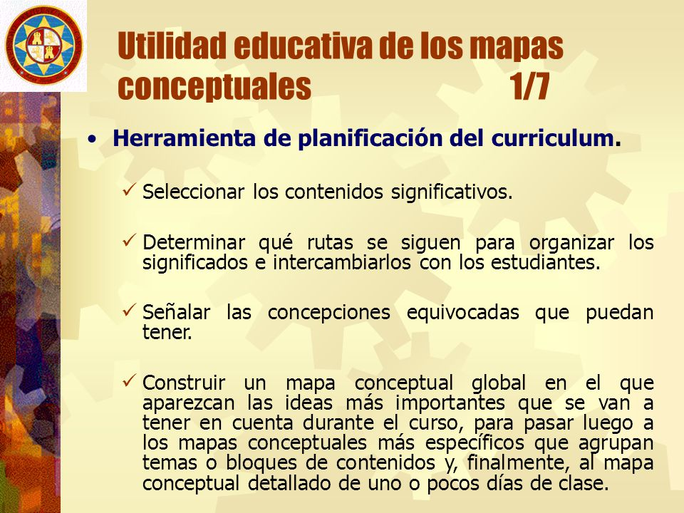 Utilidad educativa de los mapas conceptuales 1/7