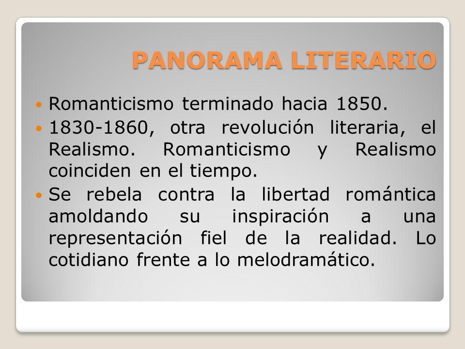 PANORAMA LITERARIO Romanticismo terminado hacia 1850.