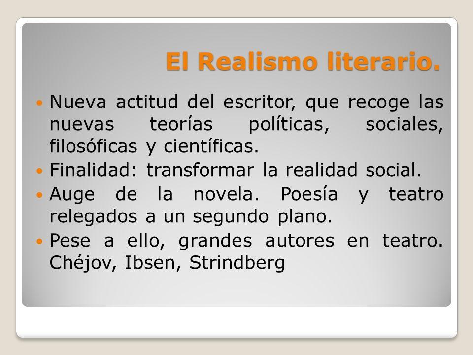 El Realismo literario. Nueva actitud del escritor, que recoge las nuevas teorías políticas, sociales, filosóficas y científicas.
