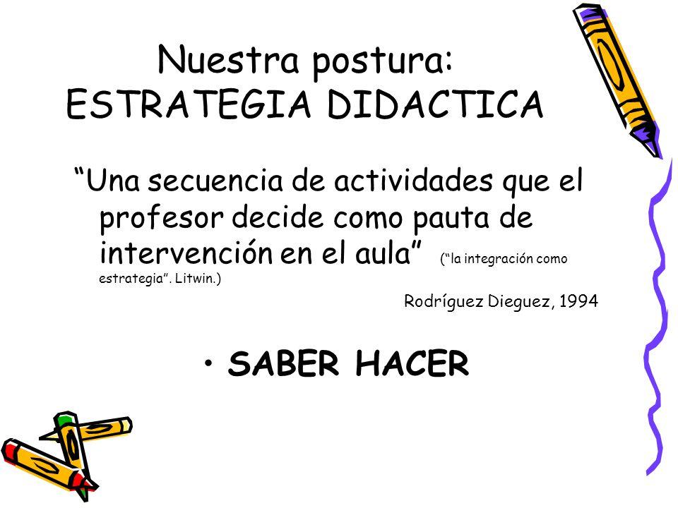Nuestra postura: ESTRATEGIA DIDACTICA