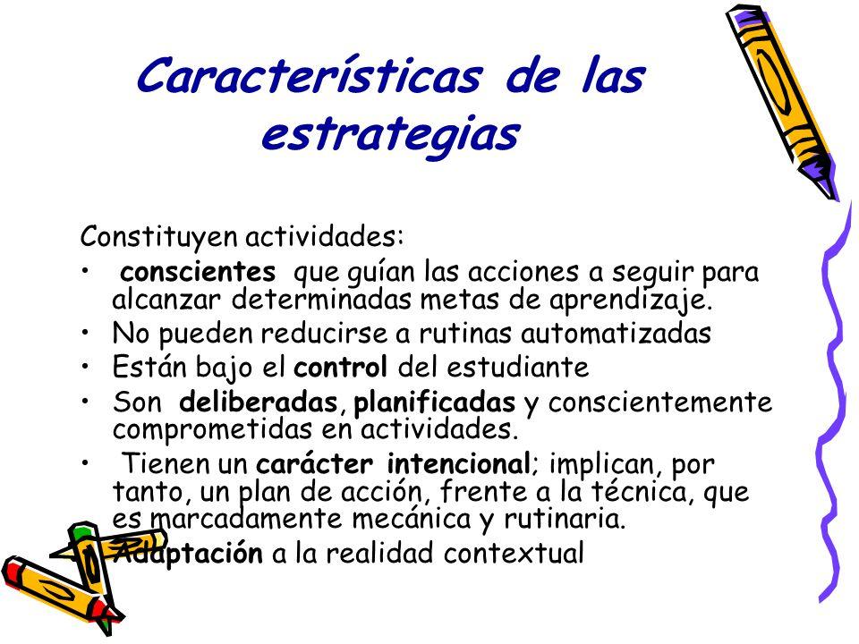 Características de las estrategias