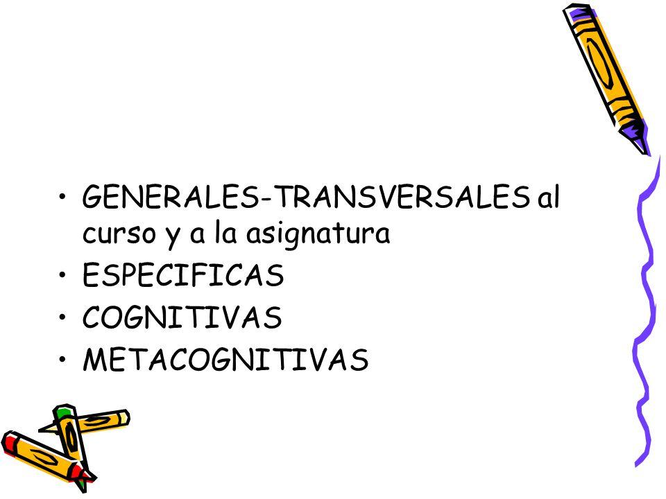 GENERALES-TRANSVERSALES al curso y a la asignatura