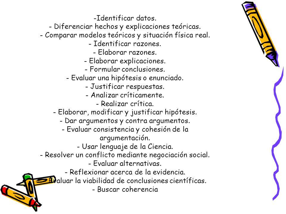 - Diferenciar hechos y explicaciones teóricas.