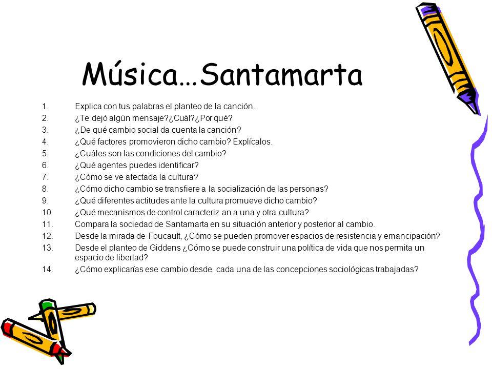 Música…Santamarta Explica con tus palabras el planteo de la canción.