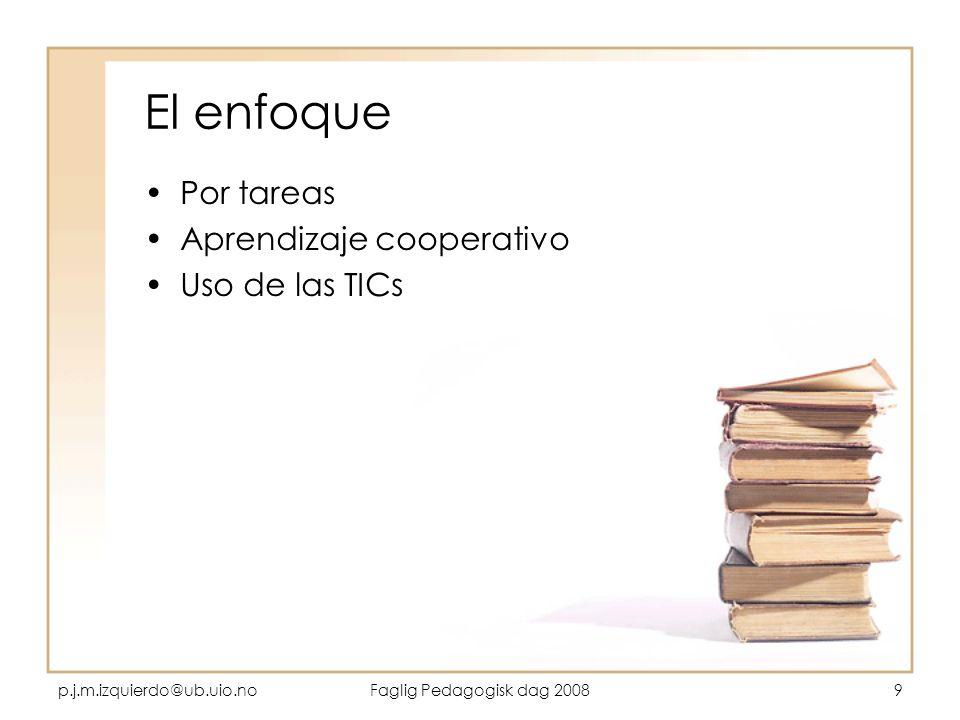 El enfoque Por tareas Aprendizaje cooperativo Uso de las TICs