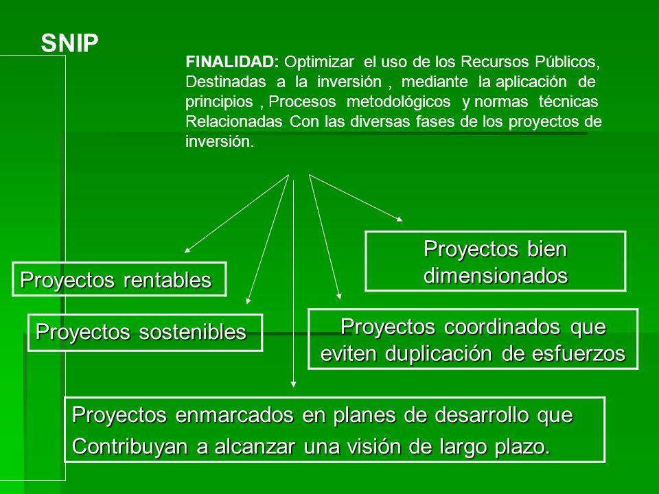SNIP Proyectos bien dimensionados Proyectos rentables