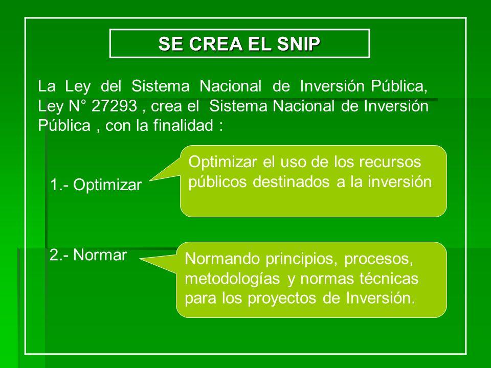 SE CREA EL SNIP La Ley del Sistema Nacional de Inversión Pública,