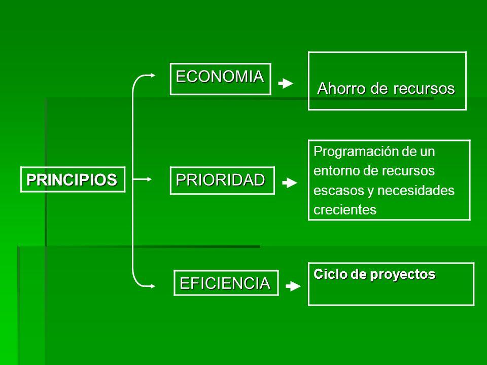 Ahorro de recursos ECONOMIA PRINCIPIOS PRIORIDAD EFICIENCIA