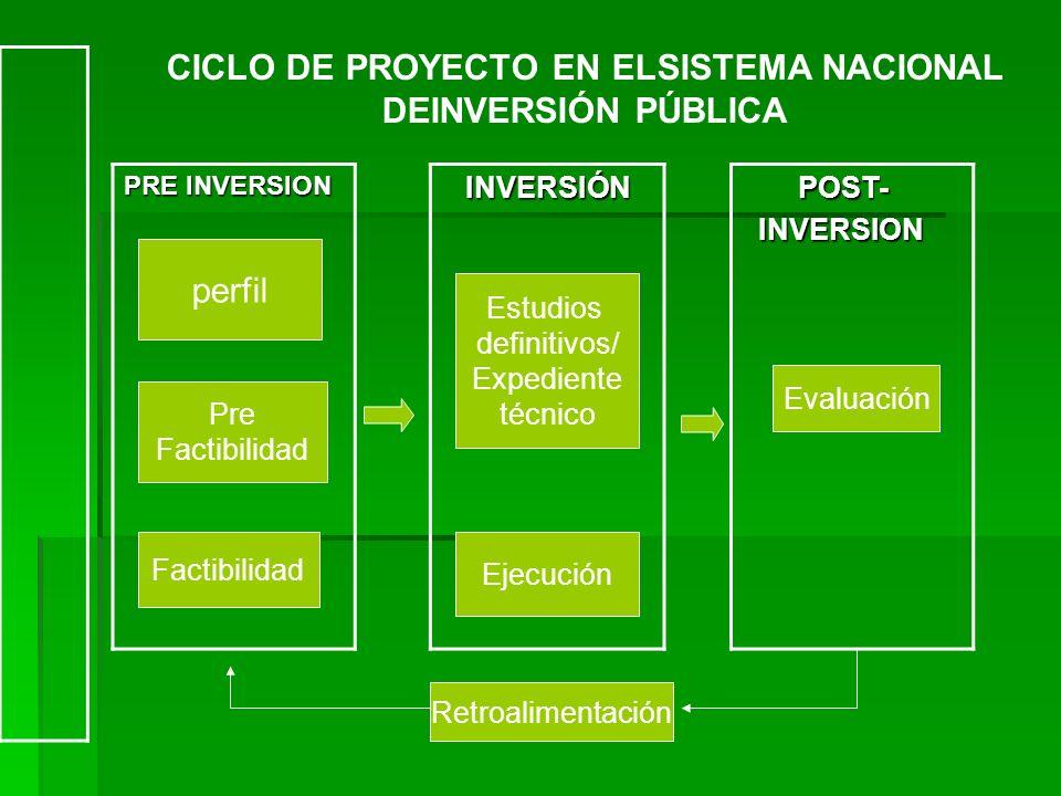 CICLO DE PROYECTO EN ELSISTEMA NACIONAL