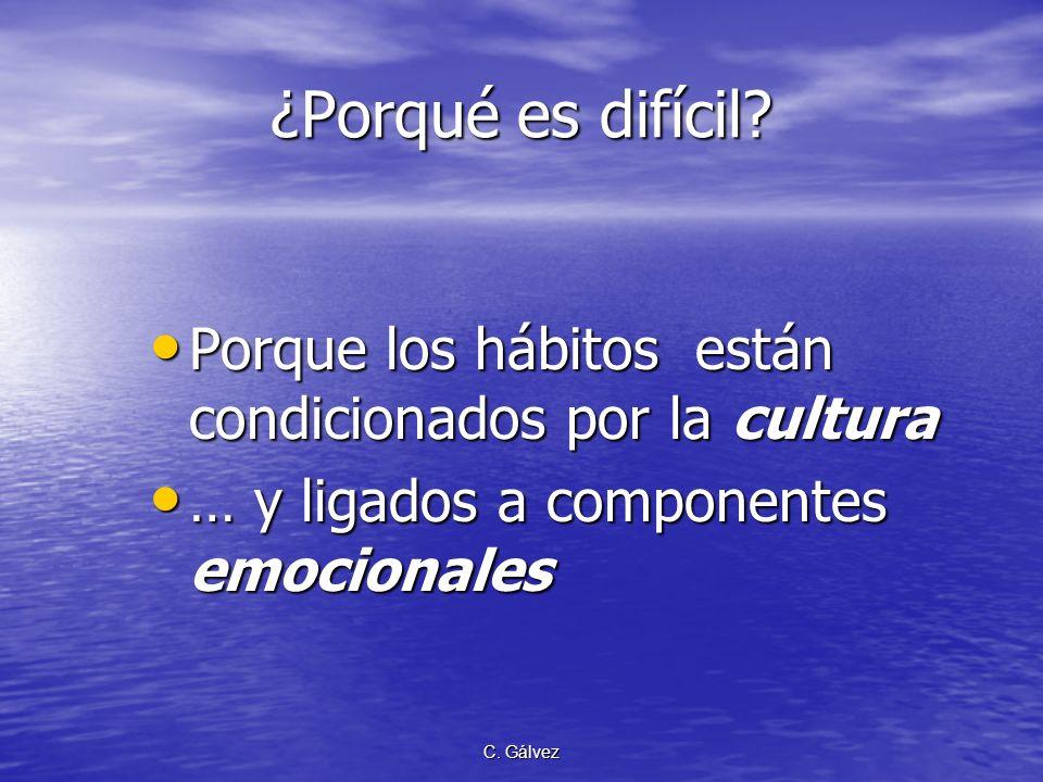 ¿Porqué es difícil Porque los hábitos están condicionados por la cultura. … y ligados a componentes emocionales.