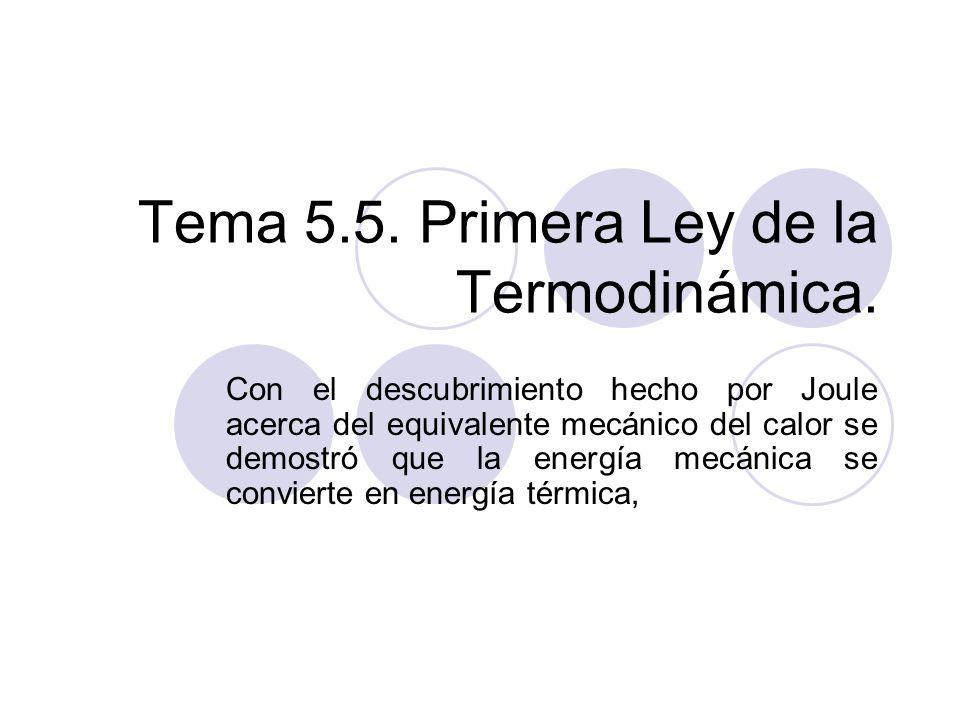 Tema 5.5. Primera Ley de la Termodinámica.
