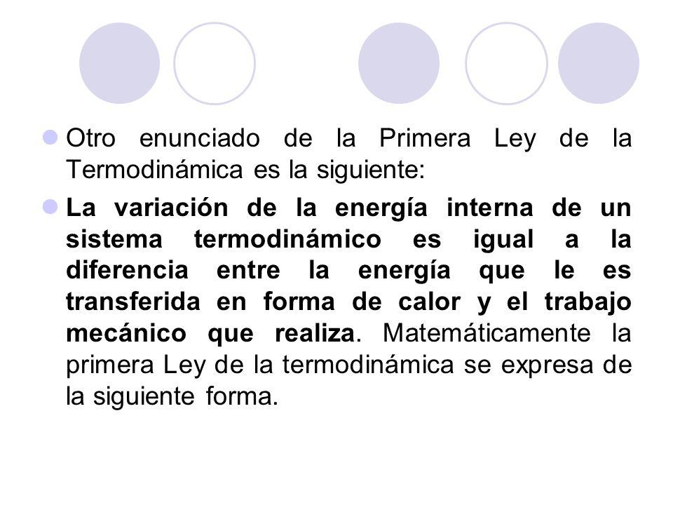 Otro enunciado de la Primera Ley de la Termodinámica es la siguiente: