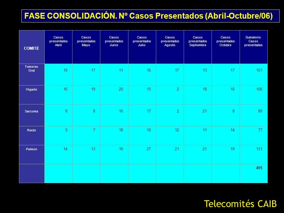 FASE CONSOLIDACIÓN. Nº Casos Presentados (Abril-Octubre/06)