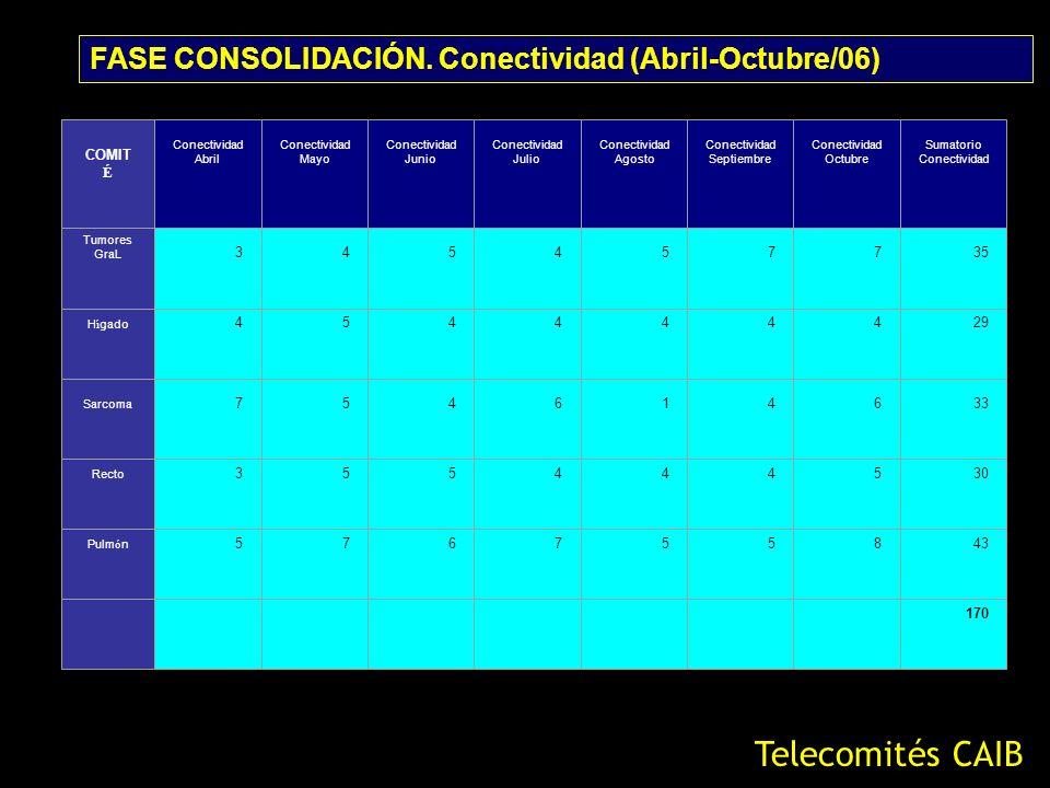 Telecomités CAIB FASE CONSOLIDACIÓN. Conectividad (Abril-Octubre/06)